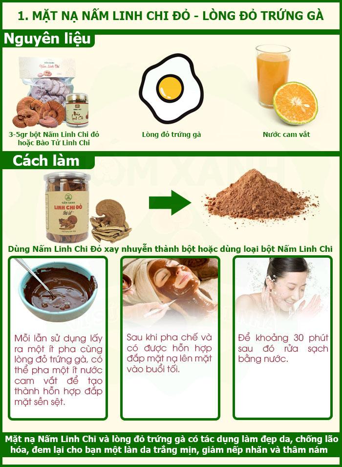 Công dụng Nấm Linh Chi với mặt nạ dưỡng da từ Nấm Linh Chi và lòng đỏ trứng gà cùng nước cam