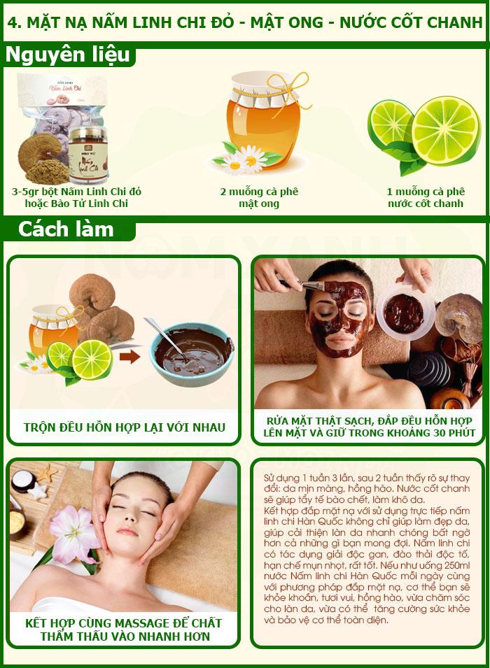 Công dụng Nấm Linh Chi với mặt nạ dưỡng da từ Nấm Linh Chi và mật ong nước cốt chanh